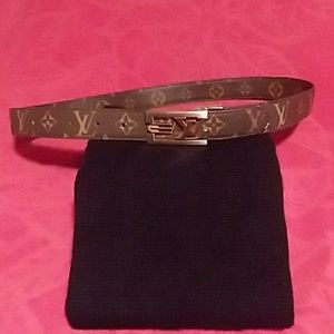"""Louis Vuitton Brown with Gold Lettering 36"""" Belt"""